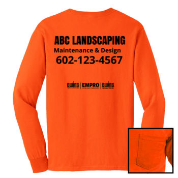 Safety orange long sleeve w/ pocket (No Trees) Thumbnail